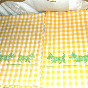 Vintage Cotton Gingham Cloth Yellow 2 window